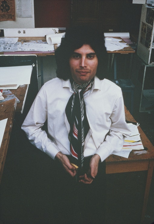 Freddie Mercury na londýnské Ealing Art College, 1969