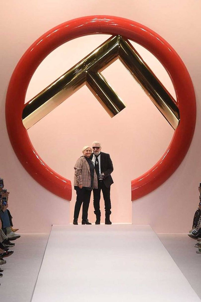 Silvia Venturini Fendi and Karl Lagerfeld take a bow at the finale of the Fendi Spring/Summer 2019 show. Lagerfeld has worked for Fendi for more than 50 years and in 2019 he and Silvia will have worked together for 25 years.