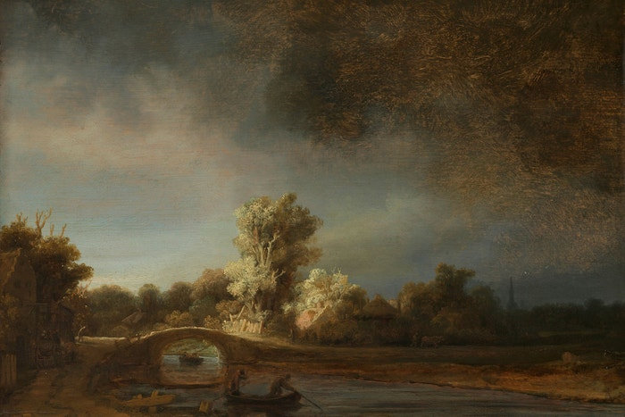 Rembrandt van Rijn: Landscape with a Stone Bridge, kolem roku 1638 (All the Rembrandts)