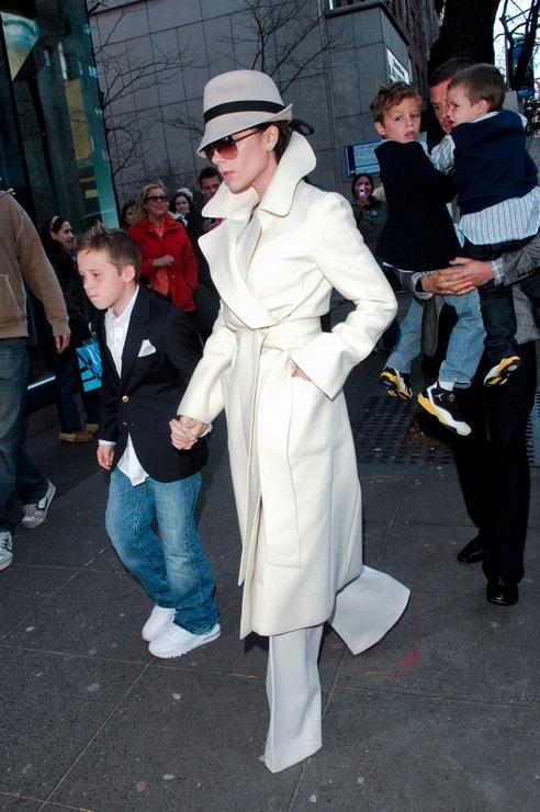 Brooklyn Beckham, Victoria Beckham, Romeo Beckham, David Beckham a Cruz Beckham, 2008