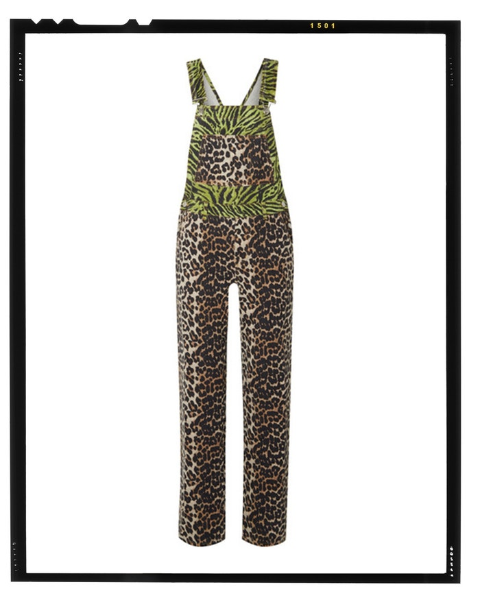 Paneled animal-print denim overalls, GANNI, sold by Net-A-Porter, 330 EUR