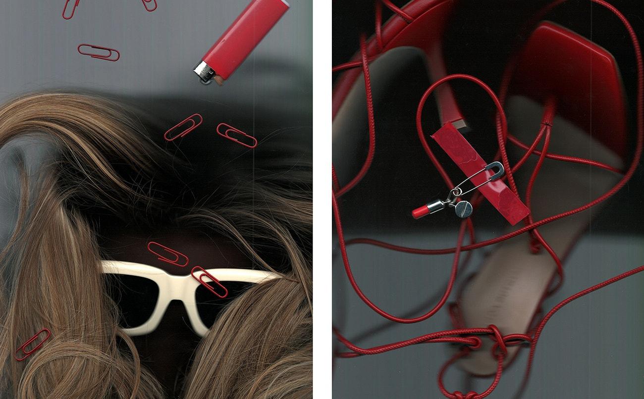 Vlevo: brýle, The Attico x Linda Farrow.  Vpravo: boty, Magda Butrym; náušnice, Ambush.