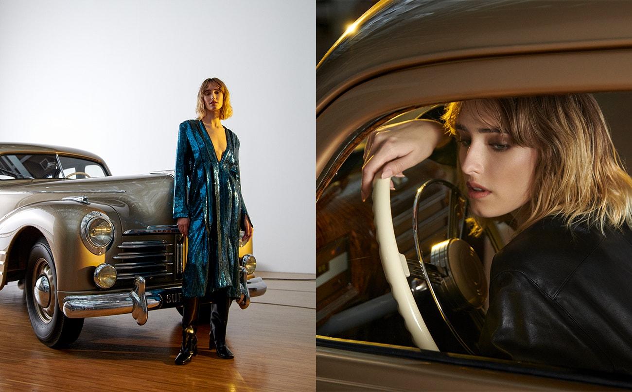 Vlevo: šaty aboty, obojí H&M.  Vpravo: košile, FARAH X MICHAELA K.