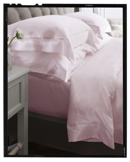 Hedvábný povlak na polštář s lemem, růžový, LOVESILK, prodává LOVESILK