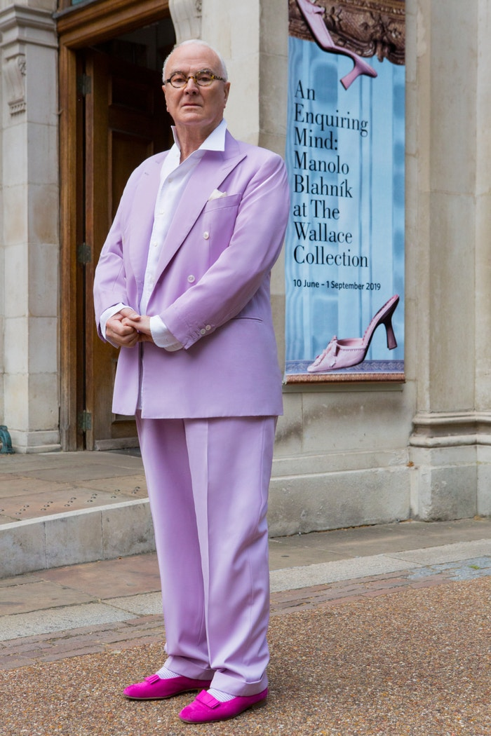 Manolo Blahnik outside his exhibition An Enquiring Mind: Manolo Blahnik at the Wallace Collection