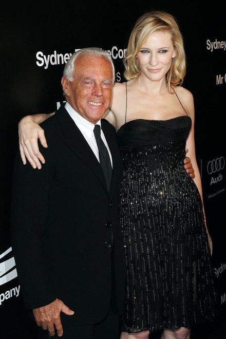 Cate Blanchett a Giorgio Armani na charitativní večeři v Sydney, listopad 2007