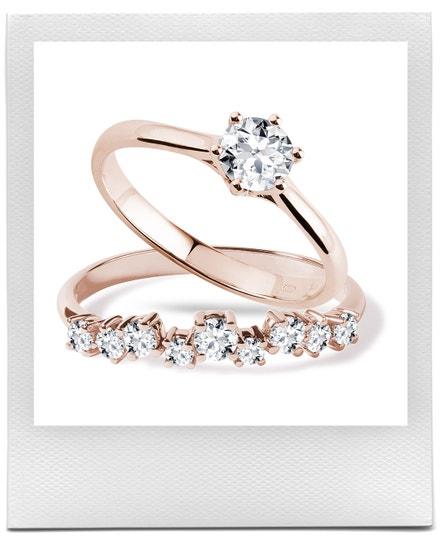 Zásnubní sada s diamanty v růžovém zlatě, KLENOTA, prodává KLENOTA, 54 900 Kč