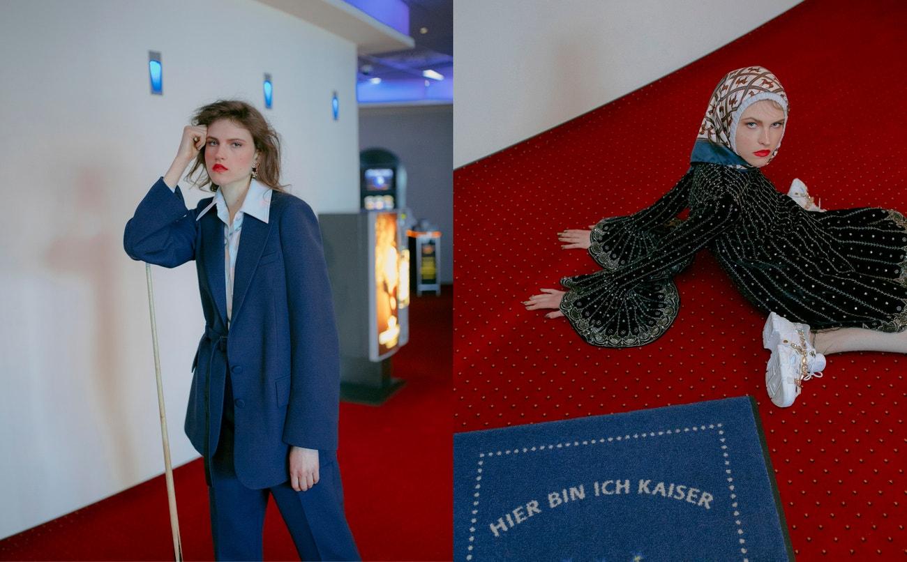 Vlevo: oblek, Joseph; košile, Acne Studios; náušnice, Chanel.  Vpravo: šaty, šála, boty, vše Gucci.