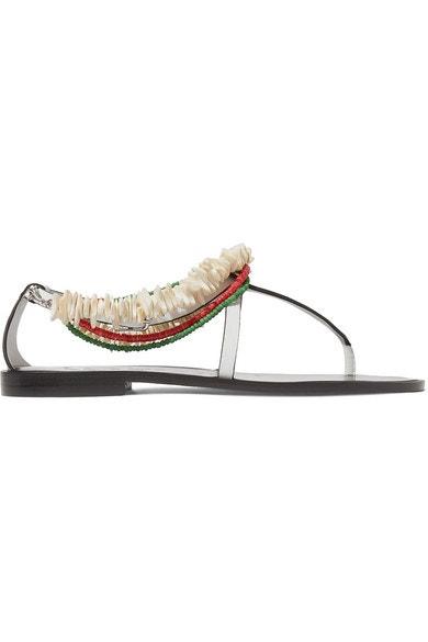 Kožené sandálky zdoebné korálky a mušlemi, Loewe, prodává Loewe, 490 € Autor: Archiv značky