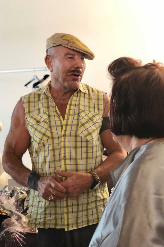 Manfred Mugler gives Suzy Menkes a tour of his archive outside Paris, summer 2018. Having worked as a professional ballet dancer from age 14 to 20, Mugler has always been athletic and maintains a strict exercise regime today - he turns 70 in December.