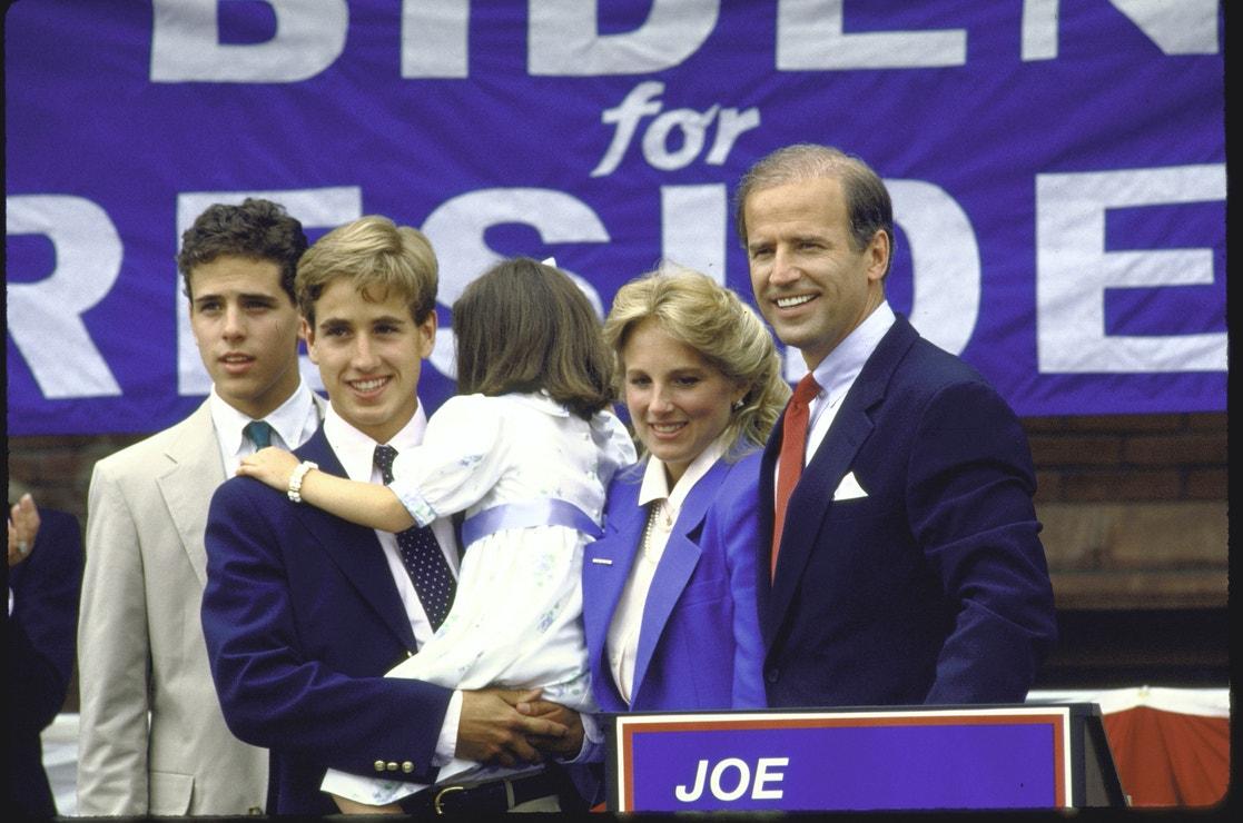 Joe Biden s manželkou Jill a dětmi 1. června 1987