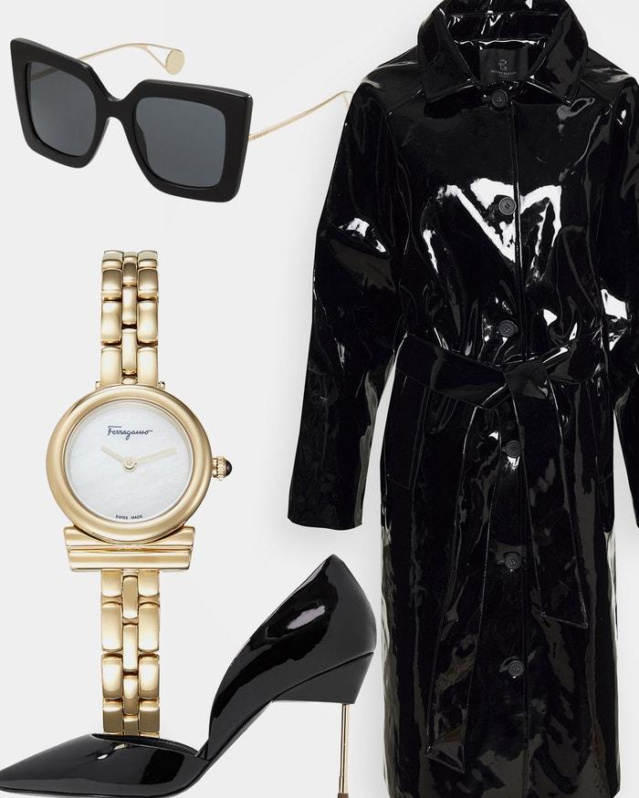 Krátký kabát, Bruuns Bazaar, prodává Zalando, 4 800 Kč; sluneční brýle, Gucci, prodává Zalando, 8 400 Kč; lodičky na vysokém podpatku, Kurt Geiger London, prodává Zalando, 4 080 Kč; hodinky, Salvatore Ferragamo, prodává Zalando, 18 000 Kč.