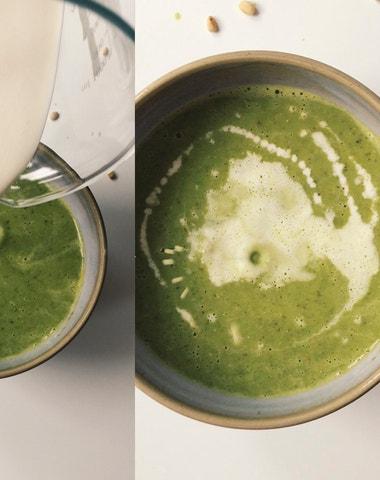 Vogue v kuchyni #2: Hrášková polévka s pestem a piniovými oříšky