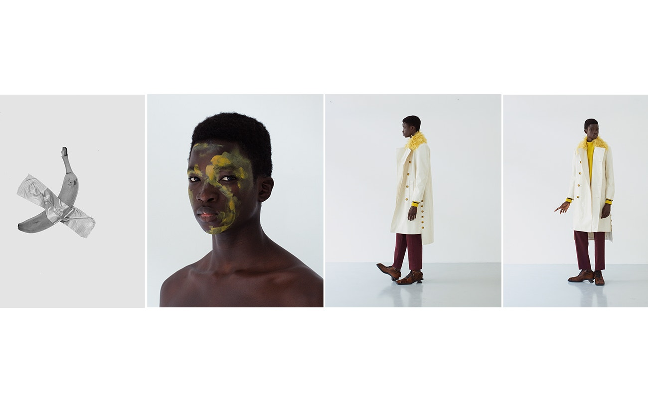 Svetr, Grifoni; kabát, Miaoran Studio; kalhoty, Grifoni; boty, Miaoran Studio.