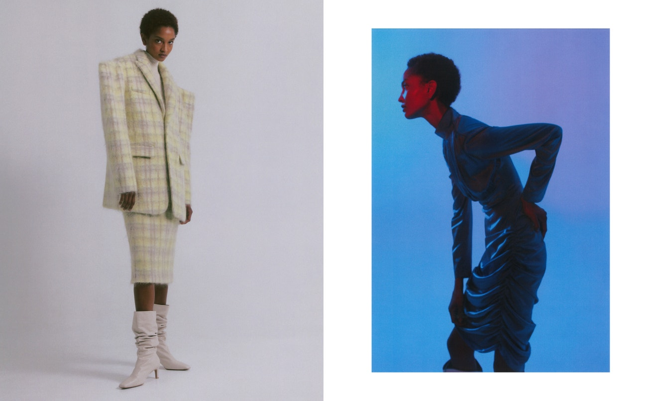Vlevo: sako, sukně, Anna Kiki; boty, Stuart Weitzman.  Vpravo: šaty, Materiel.
