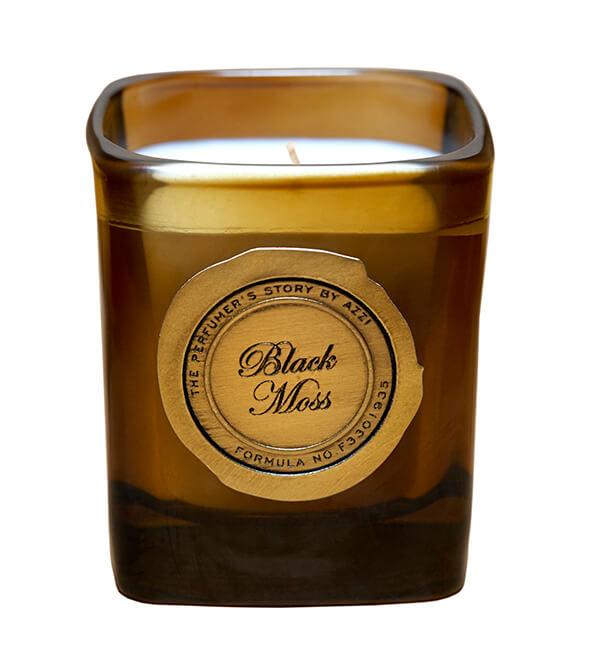Svíčka Black Moss, THE PERFUMER'S STORY BY AZZI, prodává ThePerfumersStory.com, 49 £