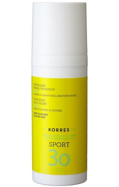 Opalovací krém na obličej Sun Care CITRUS Active Sports Face Cream s přírodními filtry, KORRES, prodává Profimed, 600 Kč