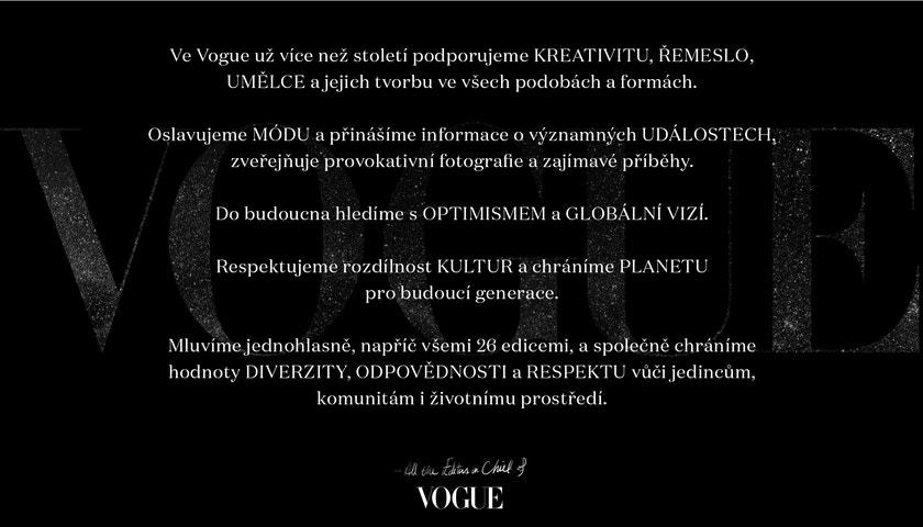 Magazín Vogue dnes představil Vogue Values
