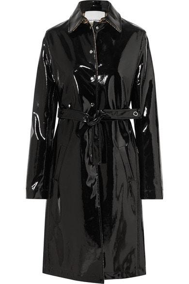 Vinylový černý kabát, Paco Rabanne, prodává Net-a-Porter, 1 090 € Autor: Archiv značky