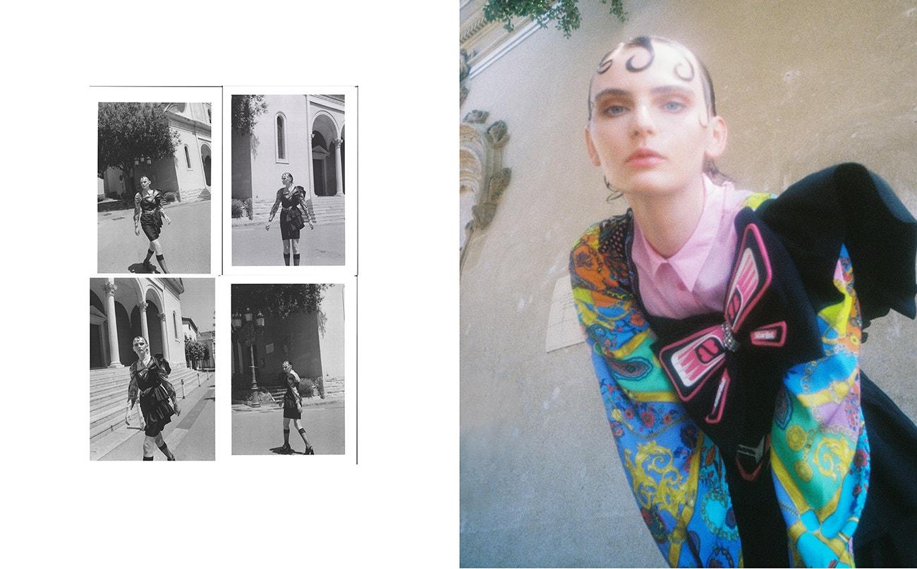 Šaty, Maria Escoté; košile, Versace; boty, Miu Miu.