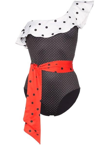 Puntíkované plavky s volánem, Ganni, prodává Farfetch.com, 186 €