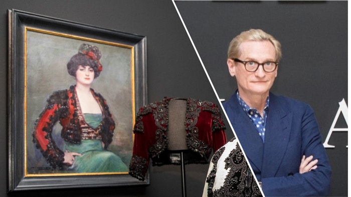 Hamish Bowles (right) lent this Balenciaga silk velvet and passementerie bolero jacket with jet beading (1946) from his personal collection, displayed against a painting of Julia Hacia by Ramon Casas y Carbo (1915)