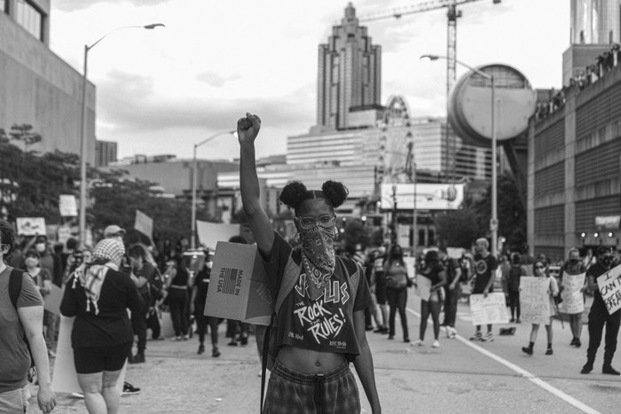 29 May 2020. Protesters in Atlanta, Georgia, over the death of George Floyd and other African-Americans killed by police brutality.