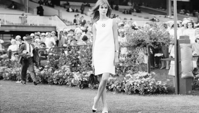 Jean Shrimpton attends Derby Day in Melbourne, Australia in 1965.