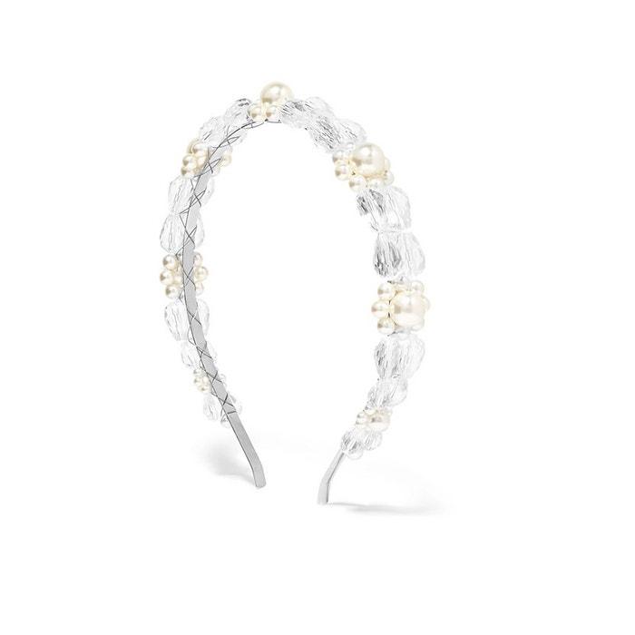 Stříbrná čelenka s korálky a perlami, Simone Rocha, prodává Net-A-Porter, 170 €