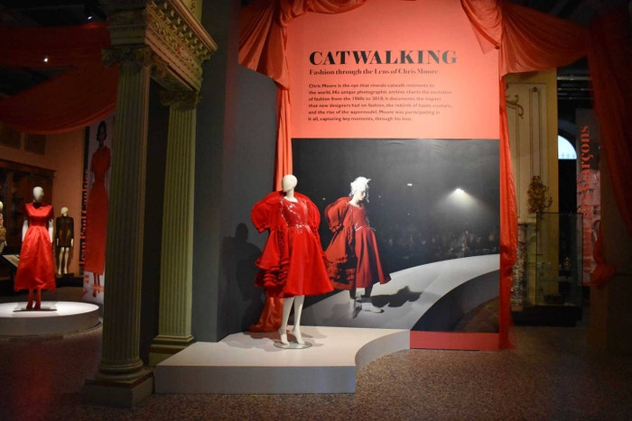 An installation at the Chris Moore exhibition at the Bowes Museum showing Comme des Garçons Spring/Summer 2017 (centre) and Valentino Autumn/Winter 1991 (far left).