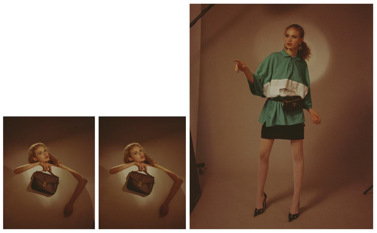 Vlevo: náušnice, PEET DULLAERT; kabelka, LOUIS VUITTON.  Vpravo: náušnice, PEET DULLAERT; triko, BALENCIAGA (prodává The Brands); sukně, LUKÁŠ MACHÁČEK, ledvinka, PRADA; silonky, GUCCI; lodičky, SAINT LAURENT (prodává Pařížská 17).