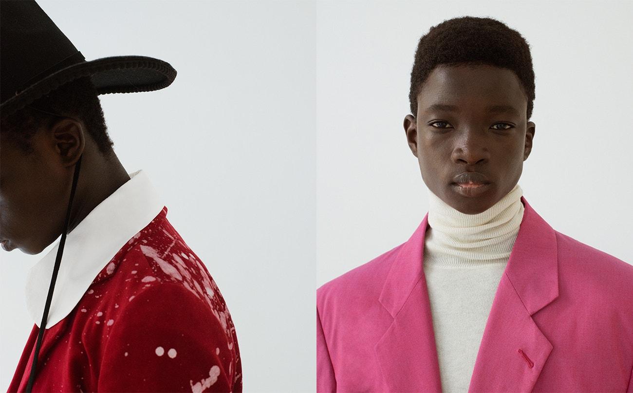 Vlevo: košile, Miaoran Studio; bunda, Miaoran Studio; klobouk, Montegallo.  Vpravo: rolák, Miaoran Studio; sako, Montegallo.