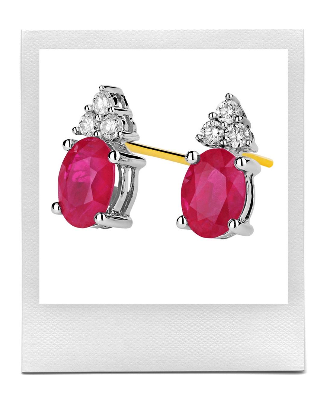 Náušnice ze zlata s diamanty a rubíny, Apart  prodává Apart, 57 069 Kč