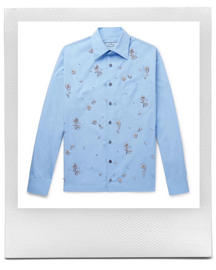 Modrá košile s květinami, Prada, prodává Mr Porter, £ 1 575 Autor: Mr Porter