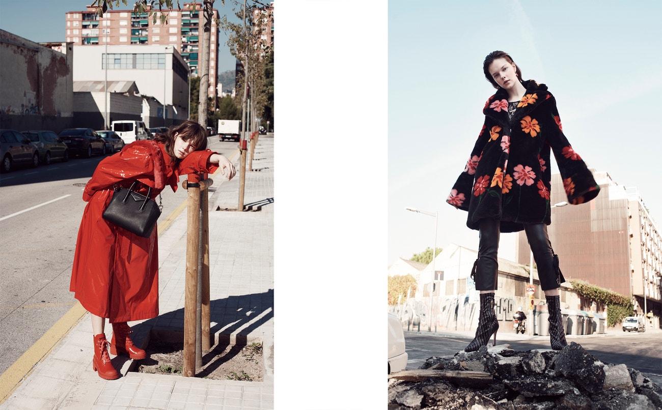 Vlevo: kabát, Vivetta; kabelka, Givenchy; boty, Marc Jacobs (prodává Jofré).  Vpravo: kabát, Vivetta; kalhoty, Lola Casademunt; top, Malahierba; náhrdelník, Matter Matter, náušnice, Srta. Bolitas; boty, Alfredo Martinez.
