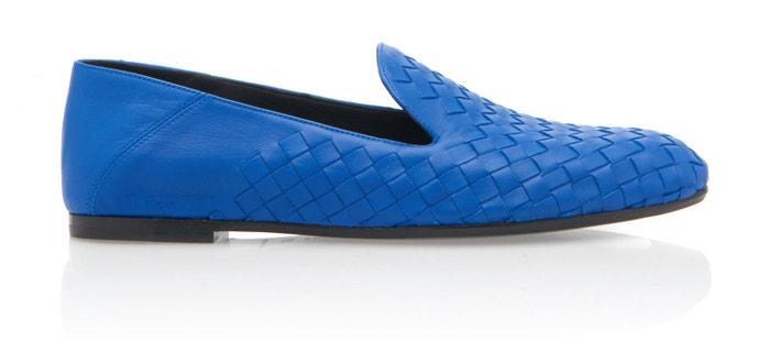 Modré kožené mokasíny, Bottega Veneta, prodává Modaoperandi, 590 €