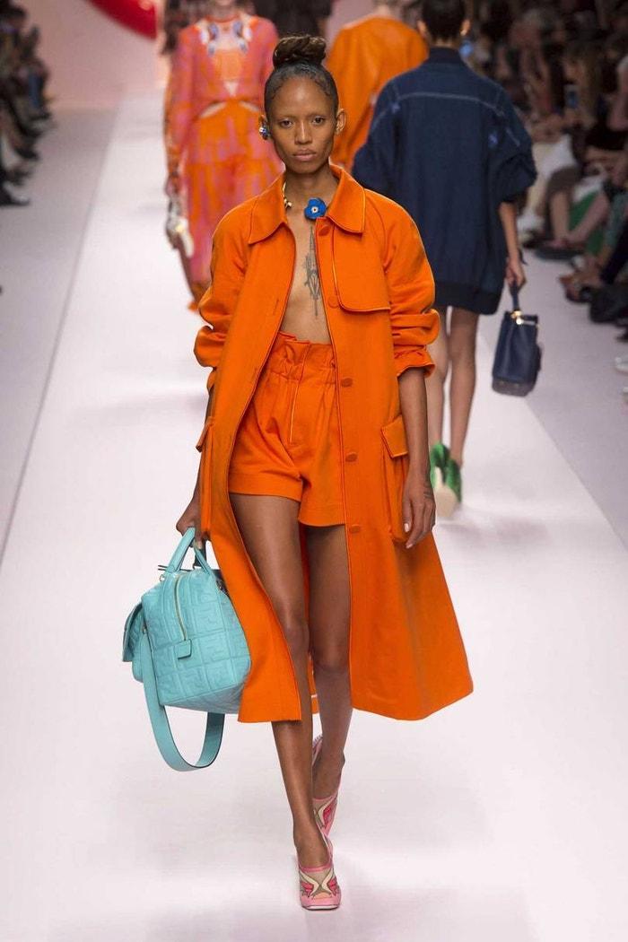 "Karl Lagerfeld's new shade, ""lobster orange"", at Fendi Spring/Summer 2019"