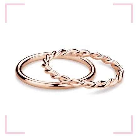 Muselet Ring Set stříbrných, růžově pozlacených prstenů dle návrhu designérky Anny Marešové z kolekce Champagne, MOOYYY, prodává MOOYYY, 2 300 Kč