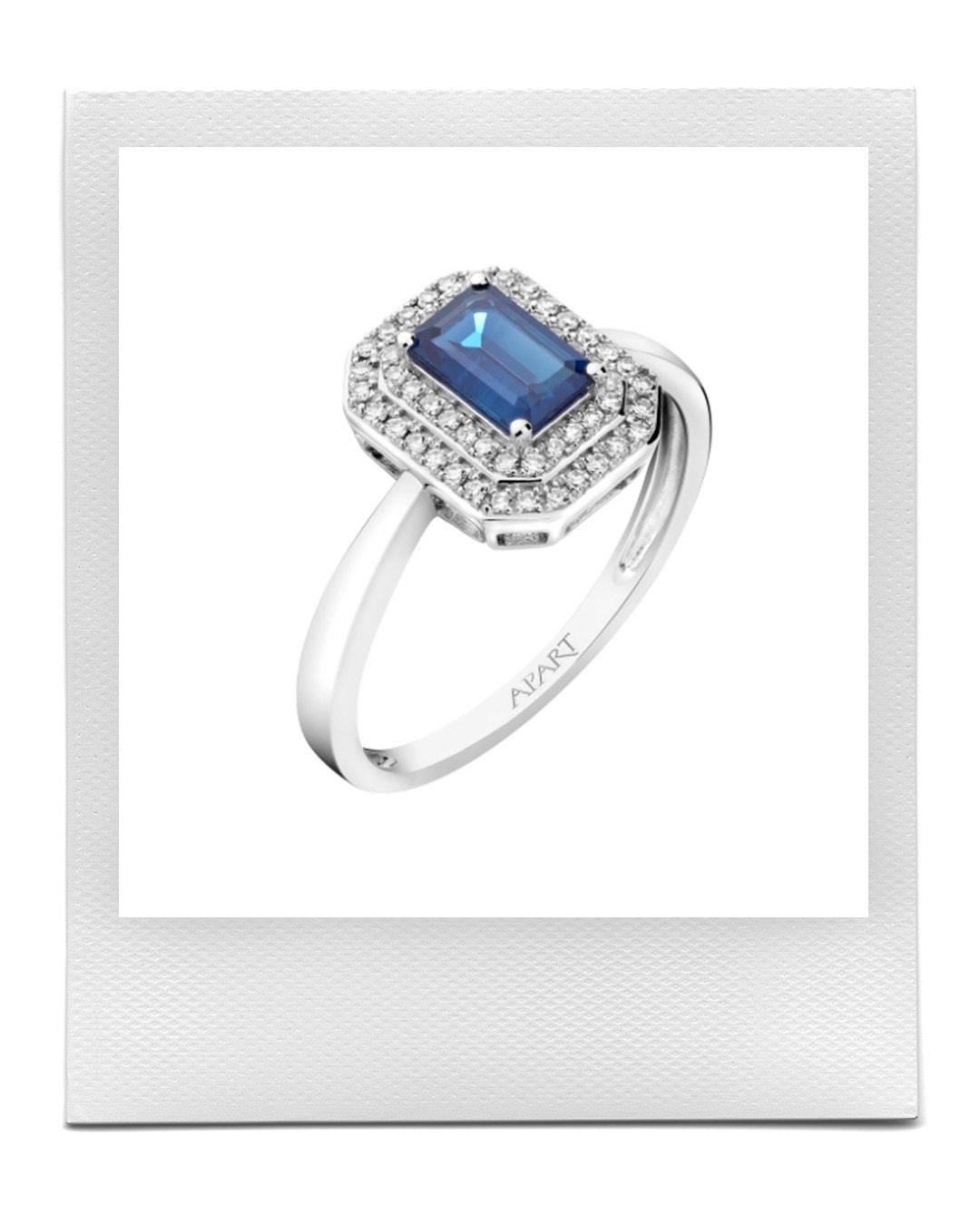 Prsten z bílého zlata s diamanty a safírem, Apart  prodává Apart, 21 359 Kč