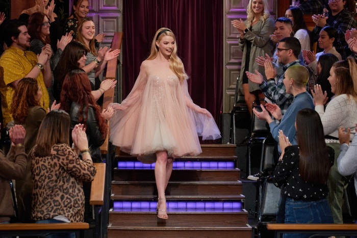 Wearing Paolo Sebastian on The Late Late Show with James Corden in Los Angeles on February 19.