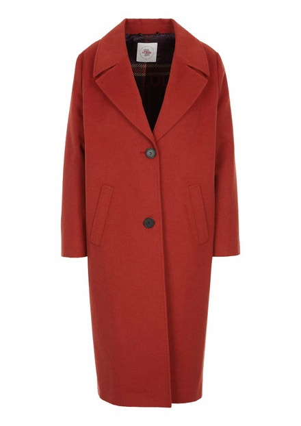 Červený oversized kabát se saténovou podšívkou, s.Oliver, 3999 Kč