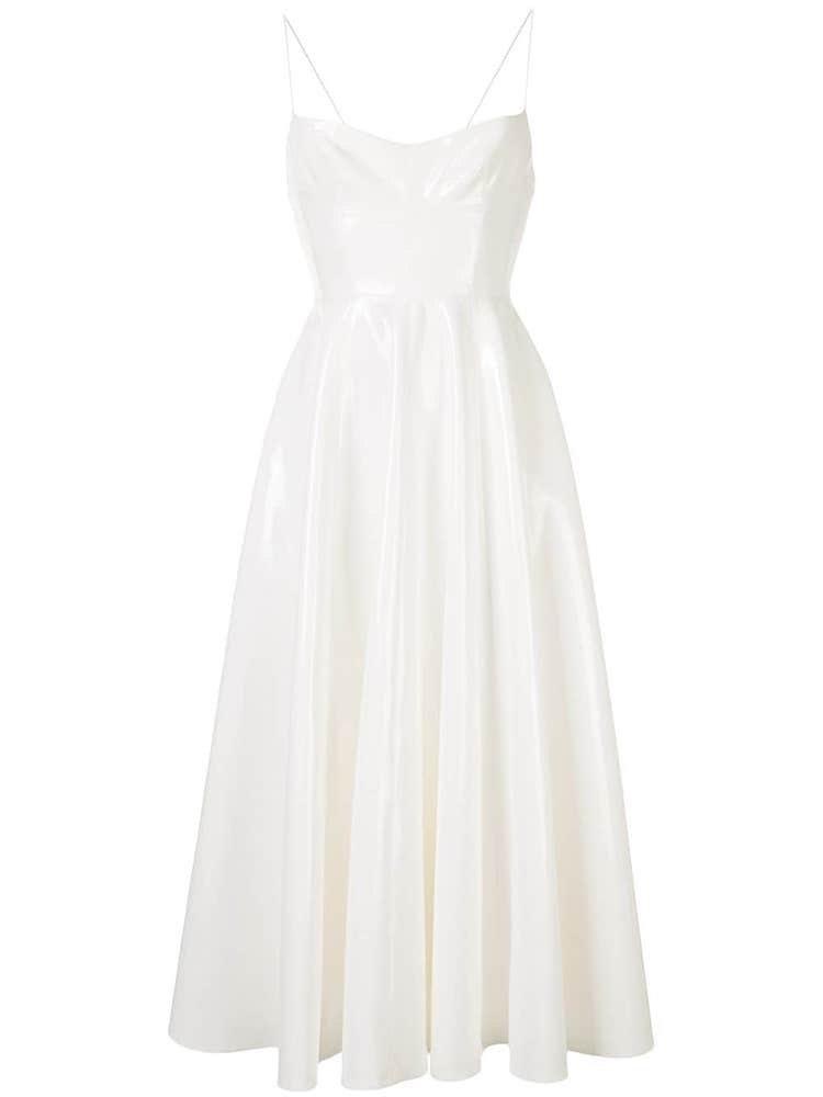Bílé šaty z PVC na špagetová ramínka, ALEX PERRY