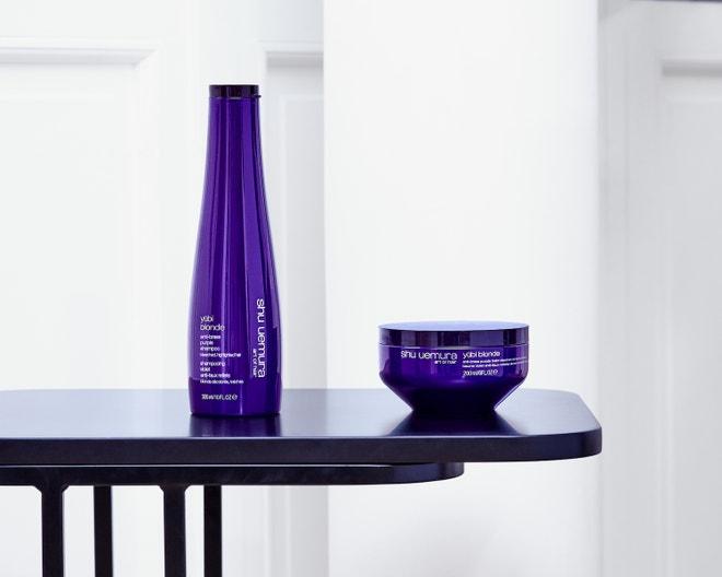Šampon Yūbi BlondeAnti-Brass Purple Shampoo, maska na vlasy Yūbi BlondeAnti-Brass Purple Balm, oboje SHU UEMURA
