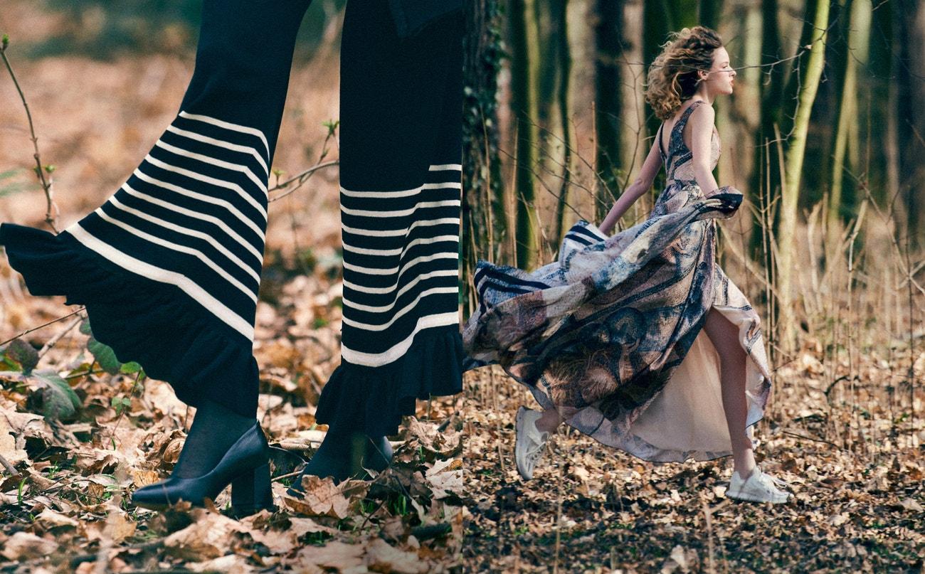 Vlevo: kalhoty z žebrovaného úpletu, H&M Conscious Exclusive, prodává H&M, 1 799 Kč; punčocháče, modelčiny vlastní; boty, LASOCKI, prodává CCC.  Vpravo: dlouhé šaty s mozaikou, šátek z hedvábné směsi, obojí H&M Conscious Exclusive, dlouhé šaty s mozaikou prodává H&M, 5 999 Kč, šátek z hedvábné směsi prodává H&M, 599 Kč; šperky, PANDORA, prodává PANDORA, 1 199 Kč, tenisky, REEBOK Zig Kinetica Concept Type-1.