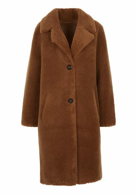 Hnědý oboustranný kabát z plyše Teddy, s.Oliver, 3999 Kč