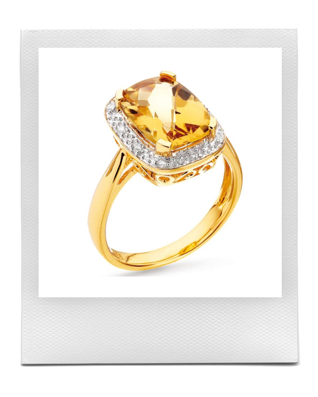 Prsten ze zlata s diamanty a citrínem, Apart  prodává Apart, 15 639 Kč