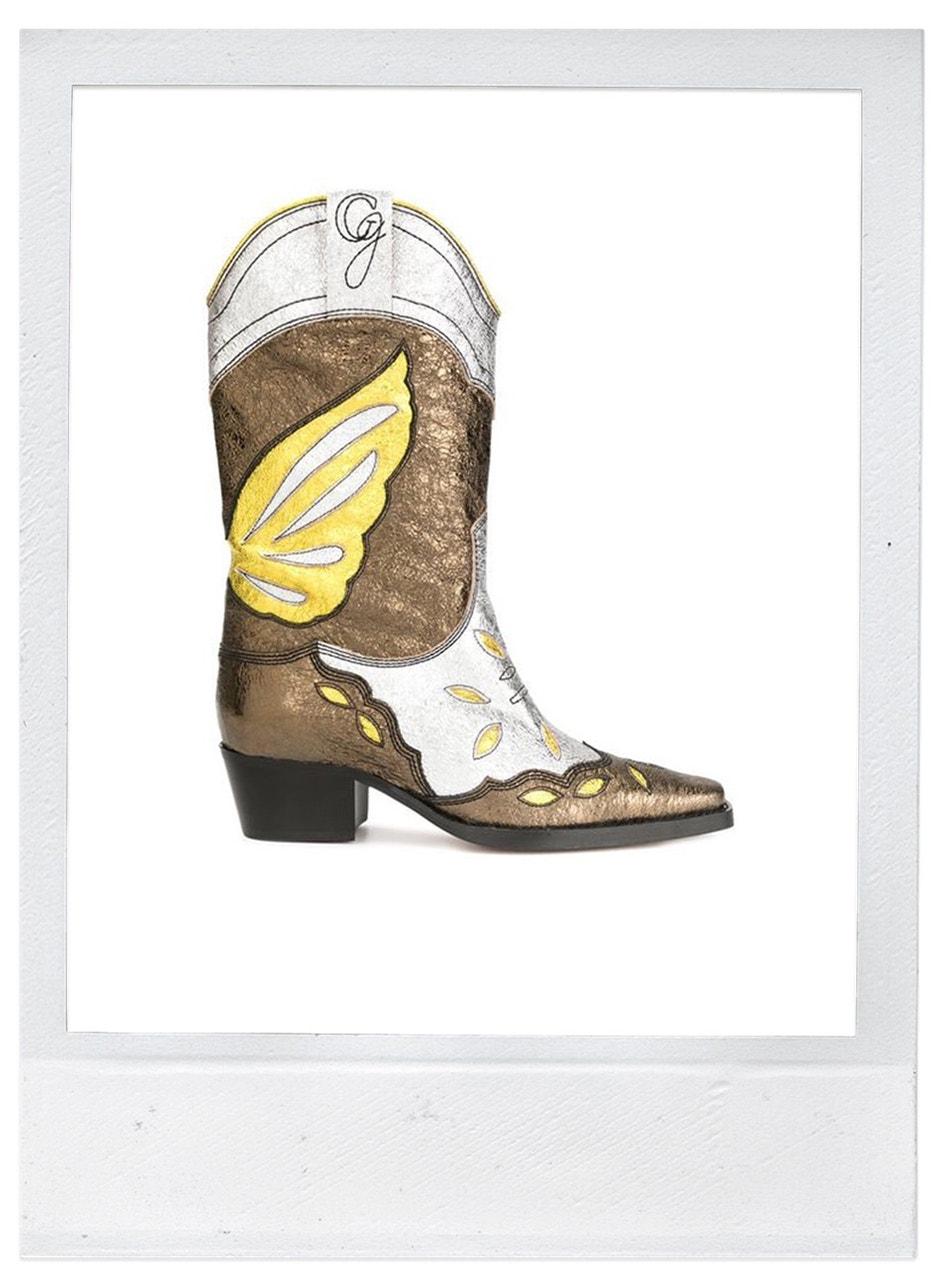 Kovbojské boty, Ganni, prodává Farfetch, 755 €
