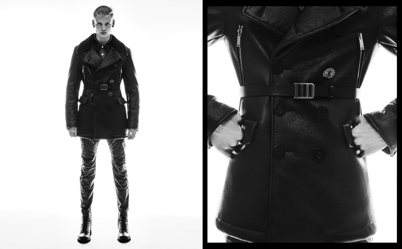 Vlevo: kabát, Dsquared2; košile, Acne Studios; kalhoty, Dsquared2; pásek, Diesel; boty, Giuseppe Zanotti.  Vpravo: kabát, Dsquared2; košile, Acne Studios; kalhoty, Dsquared2; pásek, Diesel; prsteny, Vintage.