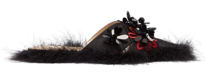 Černé pantofle s marabu peřím, Simone Rocha, prodává Matchesfashion, 706 €