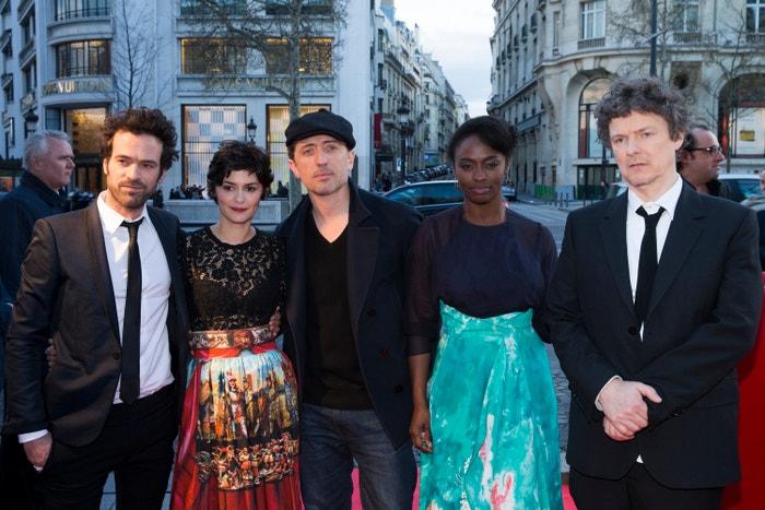 Romain Duris, Audrey Tautou, Gad Elmaleh, Aissa Maiga a Michel Gondry na premiéře Pěny dní v Paříži, 2013